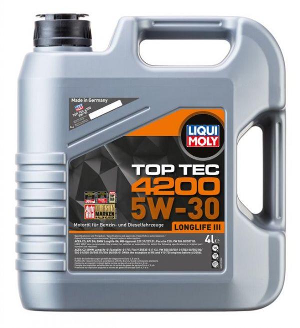 Олива моторна Liqui Moly TOP TEC 4200 5W-30 API SM/CF; ACEA A3-04/B4-04/C3-04 (Канистра 5л)